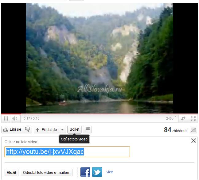 vkládání videa z Youtube.com do webu